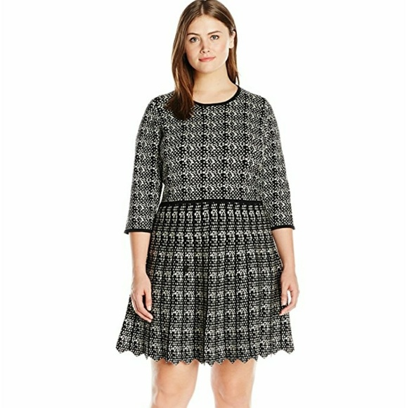 Taylor Dresses Dresses Plussize Printed Fit Flare Sweater Dress